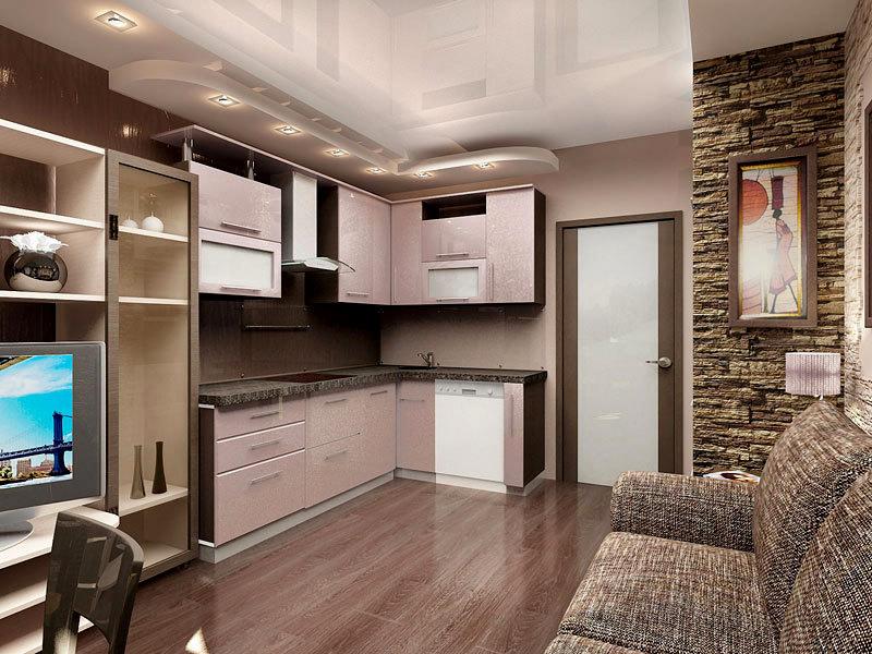 Дизайн кухни-гостиной 28 кв м